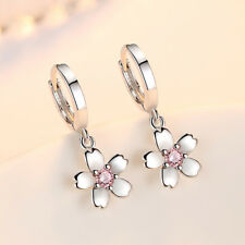 Solid 925 Sterling Silver Crystal Flower Drop Earrings Ear Buckle For Women