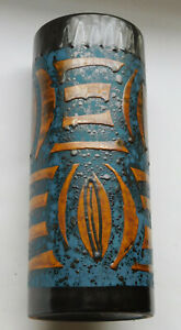 60er Jahre Keramik Vase Carstens Tönnieshof 1241-22 blau-bronze abstrakt 22cm
