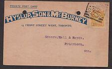 1896 Toronto, YRK. squared circle on a postcard. Hyslop, Son & McBurney, Bicycle