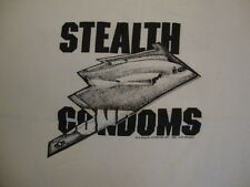 """Vintage Stealth Condoms """"They'll Never See You Coming"""" Funny Sex T Shirt L"""