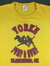 Vintage Mens XL 80s 90s York's Pump & Hump Camel Funny Graphic Yellow T-Shirt