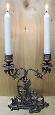 Antique Lion Decorative Art Silver Plate Double Candlestick Holder Candelabrum