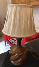 Vintage Retro Wood Oak Modernist Table Lamp & Shade 1970s G-plan Era ? Danish