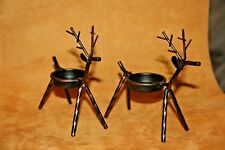 "2 METAL WIRE MOOSE / REINDEER 5/16TH TWISTED ROD..TEA LIGHT HOLDER..4 3/4"" TALL"