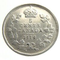 1918 Canada 5 Cents Small Silver Circulated George V Five Cents Coin Q087
