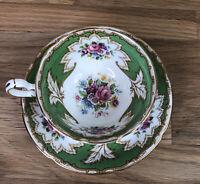 Royal Grafton Tea Cup & Saucer Academy Green Gold Pink Rose ~ Bone China England