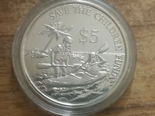 1989 Singapore $5 Five dollars silver proof coin : 20g : Save the Children