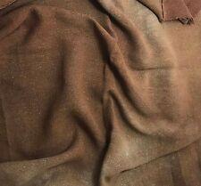 "Hand Dyed MAHOGANY BROWN Raw Silk Noil Poplin Gauze Fabric - 18""x22"" remnant"