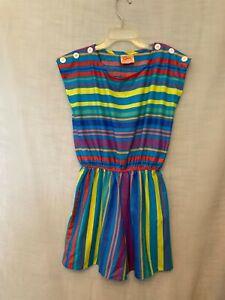 Eber San Francisco Womens Teen True Vintage 70s Colorful Striped Romper Sz S