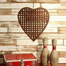 Rusted Metal Woven Heart Hanging Art Sculpture ~ Rustic Reclaimed Metal ~ I/O