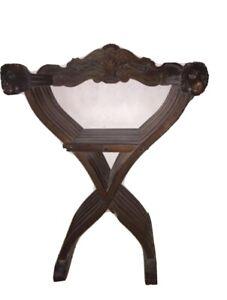 Vintage Antique Italian 50s Folding Wood Chairs Savonarola  Lion's head