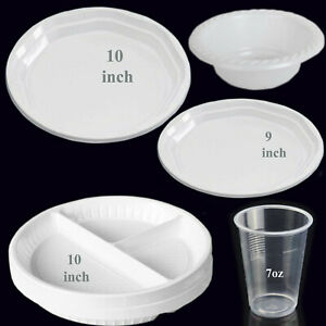 Strong White Plastic Dinner Plates Party Round Disposable Plates Bowls Water Cup