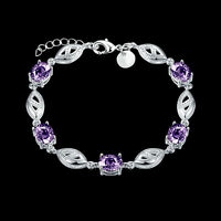 18K White Gold Filled Tennis bracelet with Oval-shaped Purple Amethyst