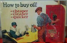 SHELL How to Buy Oil Gas Pump Antique Car Vintage metal Sign Tom Purvik artist