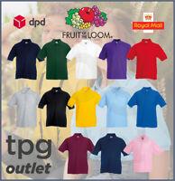 Fruit Of The Loom Kids Polo Shirt Plain Boys Girls Childrens School Polo Lot