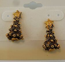 Gold plated pewter Christmas Tree Post Stud Earrings