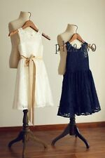 Knee Length Lace Sleeveless Dresses (2-16 Years) for Girls
