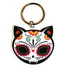 Candy Sugar Skull Cat Kitty Metal KEY RING Chain Evilkid Gato Muerto