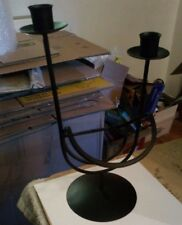 12 Inches Black Metal Wine Bottle & 2 Candle Stick Holder