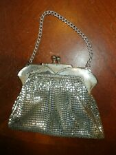 Vintage Antique Whiting & Davis Silver Mesh Purse Handbag Hand Bag w/ Chain