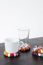 myfelt Lotte Glasuntersetzer, rund 9 cm aus Filzkugeln, bunter Untersetzer