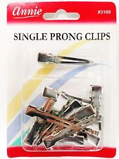 ANNIE 12 SINGLE PRONG CLIPS #3169 SMALL SILVER CLIPS SECTIONING CLIPS