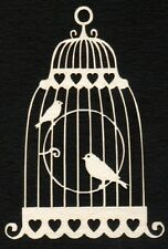 Die Cut  LOVE BIRDS IN CAGE (Ivory) x 8 for Card making, Scrapbooking, Crafts