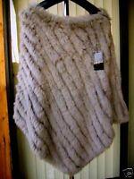$199 Genuine Rabbit Fur Poncho Top, Jacket, Sweater, Cape Gray