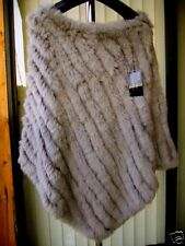 $199 Genuine Rabbit Fur Poncho Top, Jacket, Sweater, Cape Gray