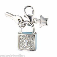 Tingle Lock and Key Sterling Silver clip on Charm with Gift Box and Bag