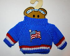 USA Flag Plush Teddy Bear Knit Sweater Outfit fits 11-13 inch New MOC