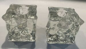 Pair vintage MCM Scandinavian Danish modern Ice Cube Clear Glass Candle Holders