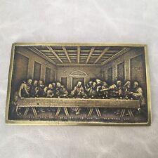 Plaque en Bronze XIXè décor de Cène Christ Victorian Religious Bronze