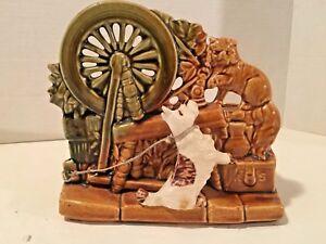 Vintage McCoy Spinning Wheel Planter with Dog & Cat
