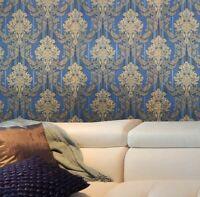 paper Wallpaper rolls wall coverings Vintage damask navy blue beige textured 3D