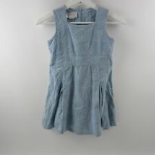 Strasburg Girls Dress Floral Sleeveless Corduroy Sheath 100% Cotton Blue Size 6Y