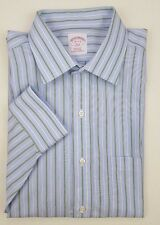 BROOKS Brothers SHIRT 16 32 33 Striped BLUE Green NON Iron REGULAR Fit MENS Size