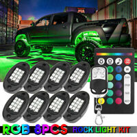 8pcs LED RGB Rock Light Under Body Car Atmosphere Lamp Wireless Dual Remote