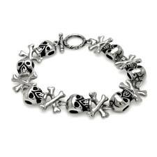 Stainless Steel Skull Head Cross Bones Link Bracelet
