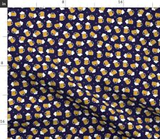 Scale Beer Mugs Navy White Yellow Spoonflower Fabric by the Yard