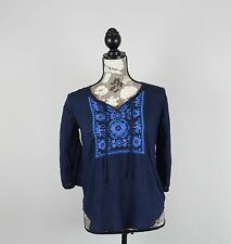 Women's Size Small Mossimo Supply Co. Embroidered Shirt Bohemian Blue