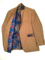 Van Heusen Studio 100% Linen Men's 46 L Sport Coat Blazer Jacket Paisley Lining