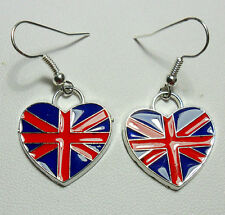 Dangle earrings - union flag enamel hearts red,blue