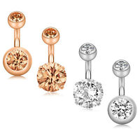14G Surgical Steel 4PCS CZ Ball Short Belly Navel Button Rings Piercing Jewelry