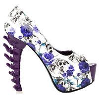 Purple Skull Rose Peeptoe Platform Bone Heel Club Pumps Au Size 4/5/6/7/8/9/10