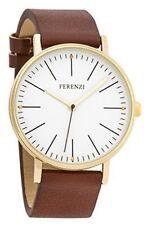 Ferenzi Women's | Fashion Minimalist Gold Watch with Dark Brown PU Leather | FZ1
