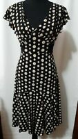 Volume One Brand Women's Dress Size M Black with Brown Polka Dots