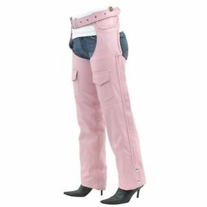 Ladies Soft Pink Feminine Leather Chaps With Braided Accents