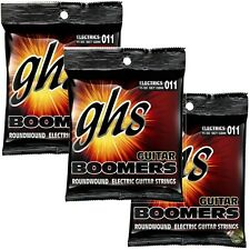 3-Pack GHS Electric Boomers GBM Medium Nickel Steel Guitar Strings 11-50