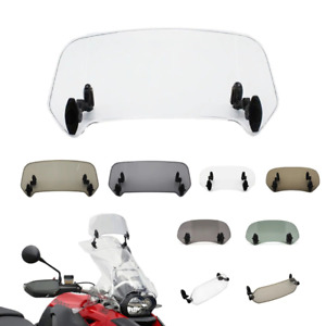 Adjustable Motorcycle Clip On Windshield Extension Spoiler Clear Wind Deflector